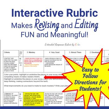Extended Response Writing Rubric by Color for fun and meaningful feedback!