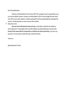 Extended School Year Parent Letter