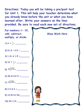 Extended Standards Pre/Post Test Number Systems 6-8
