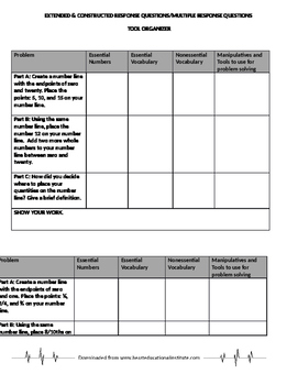 Extended and Constructed Math Questions with Organizer Tool