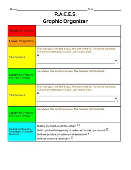 Extended or Constructed Response Graphic Organizer ***R.A.C.E.S. Response***