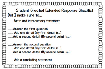 Extended response checklist for the state test.