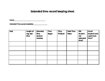 Extended time sheet to record IEP accommodations