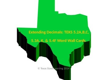 Extending Decimals: TEKS 5.2A,B,C, 5.3A, K, and 5.4F Vocab and Word Wall Cards