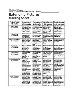 Extending Pictures Marking Sheet