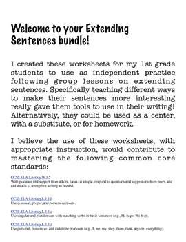 Extending Sentences Using The 5 W's (Printables)