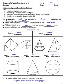 Extending to 3D Guided Notes for Geometry (Complete Unit)