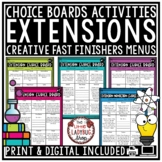 Literacy Fast Early Finisher Activities Digital Choice Boards Menu Morning Work
