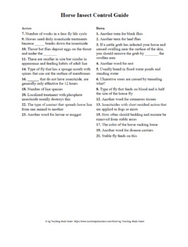 Extension Fact Page Crossword: Horse Insect Control Guide