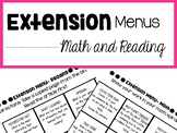 Extension Menu for Math and Reading