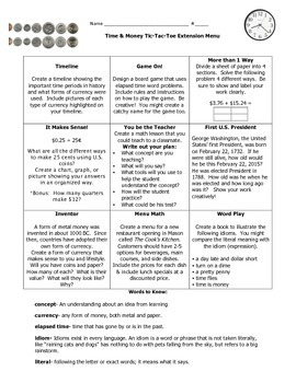 Extension Menu for Time and Money Unit