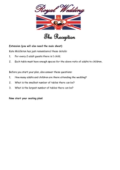 Extension for Royal Wedding problem solving activity