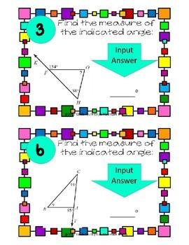 Exterior Angle Theorem Boom Cards --Digital Task Cards