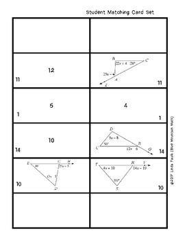 Exterior Angle Theorem--Finding Measures by Solving for X Matching Card Set
