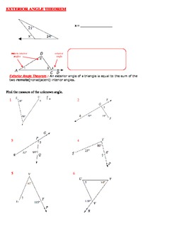 Exterior Angle Theorem Lecture notes, Worksheet by Math Guru and ...