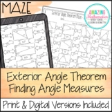 Exterior Angle Theorem Maze - Finding Angle Measures Worksheet