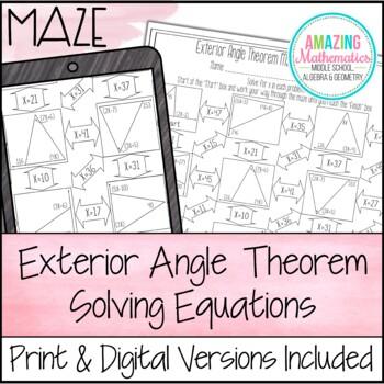 Exterior Angle Theorem Maze   Solving Equations