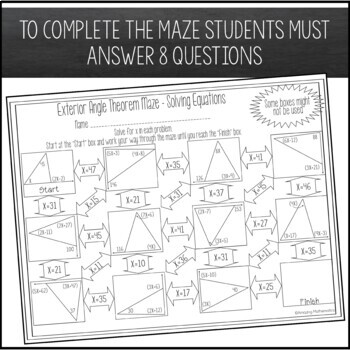 Exterior angle theorem maze solving equations by amazing - The exterior angle theorem answers ...