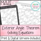 Exterior Angle Theorem Maze - Solving Equations Worksheet