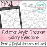 Exterior Angle Theorem Worksheet - Solving Equations Maze Activity