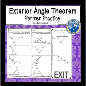 Exterior Angle Theorem Partner Practice