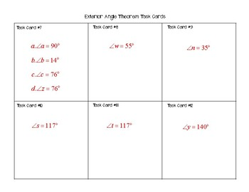 Exterior Angle Theorem Task Cards