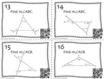 Exterior Angle and Triangle Sum Theorem Task Cards