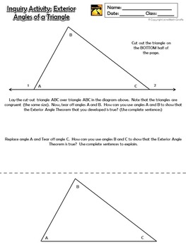 Exterior angles of a triangle inquiry activity by math - The exterior angle theorem answers ...