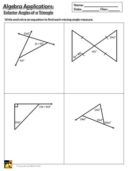 Exterior Angles Of A Triangle Inquiry Activity By Math Giraffe Tpt