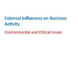 External Influences on Business Activity – Environmental a