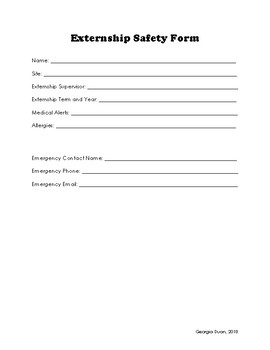 Externship Safety Form