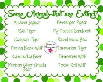 Extinct Animals Mini Chart Set