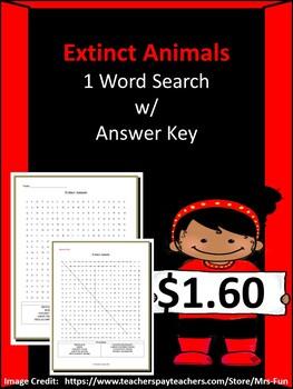 Extinct Animals Word Search w/ Answer Key