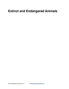 Extinct and Endangered Animals