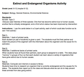 Extinct and Endangered Animals Activity