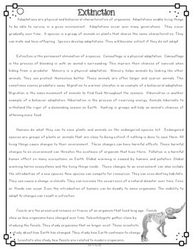 Extinction Differentiated Nonfiction Reading Passages