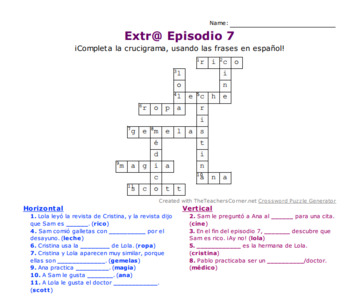 Extr@ Episodio 7: Comprehension Crossword Puzzle