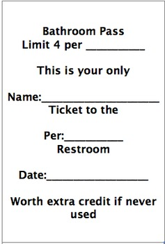 Extra Credit Bathroom Pass By Amy Stirling Teachers Pay Teachers