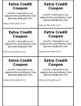 Extra Credit Coupon