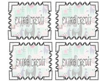 Extra Credit Coupons // Extra Credit Cards // Llama Cards