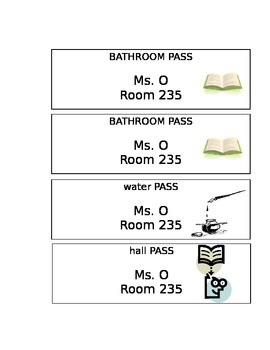 Extra Credit Passes & Bathroom/Water Passes--FULLY EDITABLE!