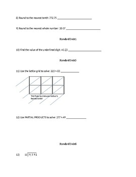Extra Credit / Review Packet for the 1st Quarter
