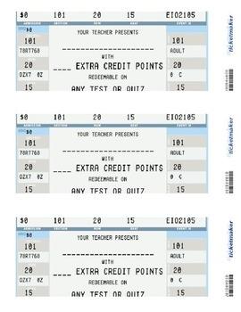 Extra Credit Reward Tickets