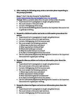 Extra Credit Writing Assignments for 5th Grade or higher ~FREEBIE~