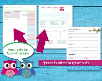 Extra-Curricular Activities Printable for Kids and Children PDF Instant Download
