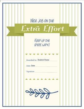 Extra Effort Certificate - {Editable}
