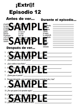 Extra! Extr@! episodio 12 Worksheet Spanish