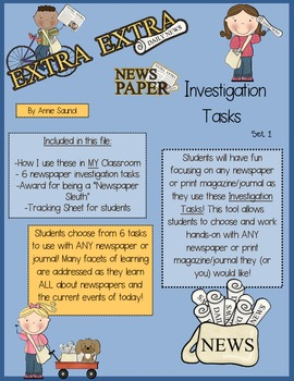 Extra! Extra! Newspaper Informational Text Investigation Tasks ELA CCSS