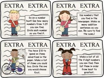 Extra! Extra! Newspaper Math Task Cards