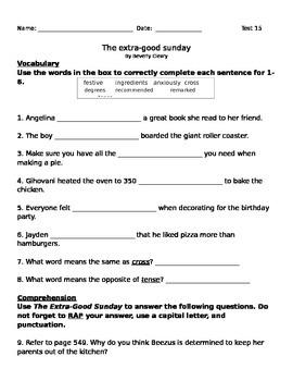 Extra Good Sunday Test for 3rd Grade Journeys